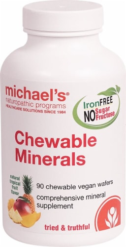 Michael's Naturopathic Program Chewable Minerals Natural Tropical Fruit Flavor Vegan Wafers Perspective: front