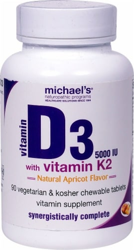 Michael's Naturopathic Programs Natural Apricot Flavored Vitamin D3 with Vitamin K2 Tablets 5000iu Perspective: front