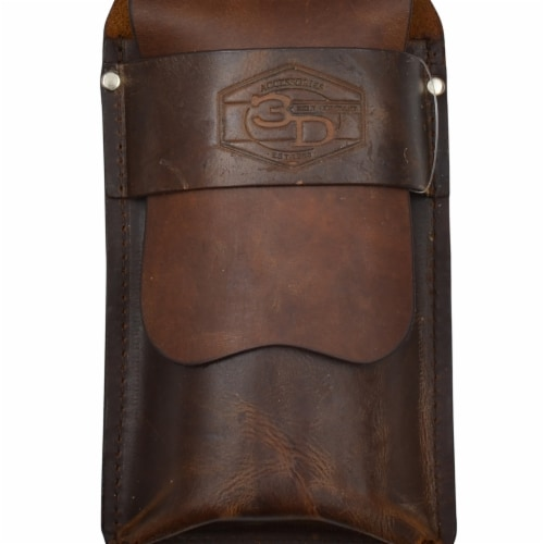 M&F Western DCC102 Distressed Leather Cigar Case with Embossed Beads Flask Perspective: front