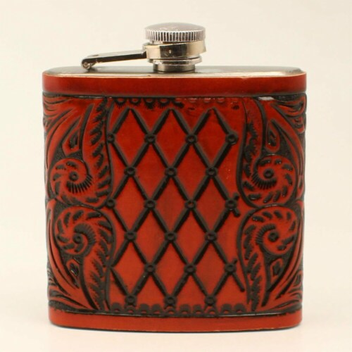 M&F Western DFL02 6 oz Tooled Cognac Leather Wrap Flask Perspective: front