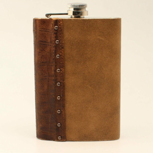 M&F Western DFL03 9 oz Distressed Medium Brown & Croc Leather Flask Perspective: front