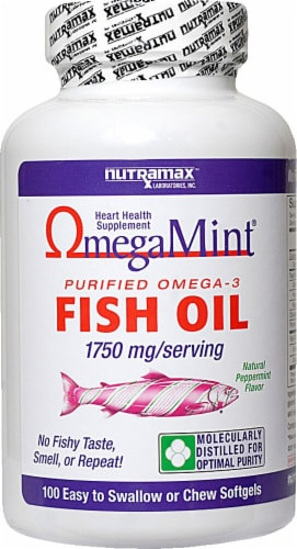 Nutramax OmegaMint Fish Oil Chewable Softgels 1750 mg Perspective: front
