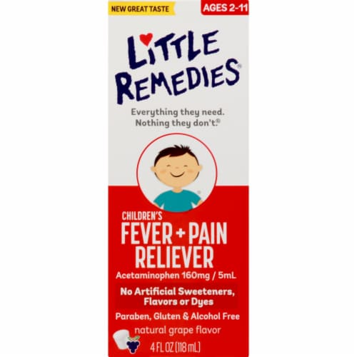Little Fevers Grape Children's Fever & Pain Reliever Medicine Perspective: front