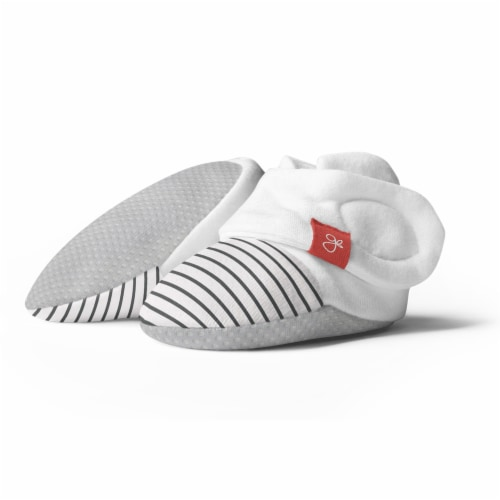Goumikids Soft Organic Stay On Adjustable Baby Infant Booties, 6-12M Stripe Gray Perspective: front
