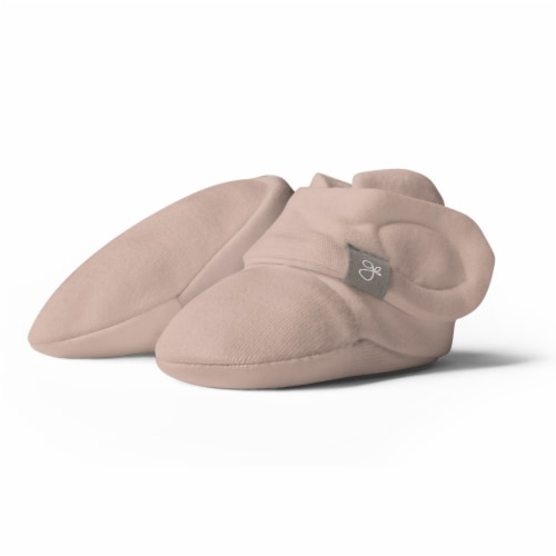 Goumikids Super Soft Organic Stay On Adjustable Baby Infant Booties, 3-6M Rose Perspective: front