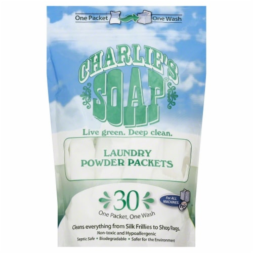Charlie's Soap Laundry Powder Packets Perspective: front