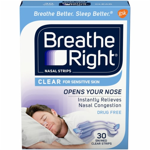Breathe Right Clear S/M Nasal Strips Perspective: front