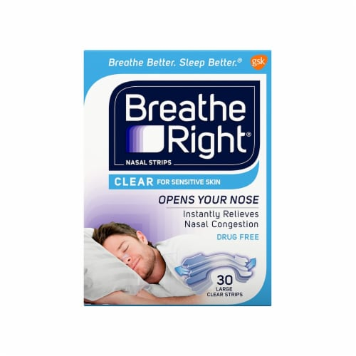 Breathe Right Large Clear Nasal Strips Perspective: front