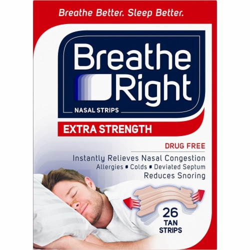 Breathe Right Extra Strength Tan Nasal Strips Perspective: front