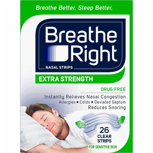 Breathe Right Extra Strength Drug-Free Clear Nasal Strips Perspective: front