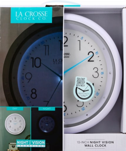 La Crosse Clock Company Night Vision Wall Clock Perspective: front