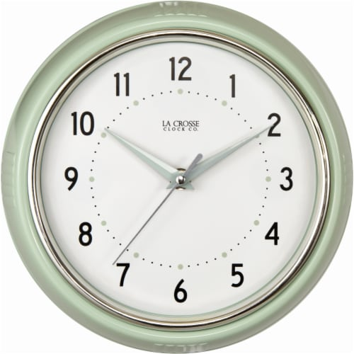 La Crosse® Technology Pistachio Diner Wall Clock - White Perspective: front
