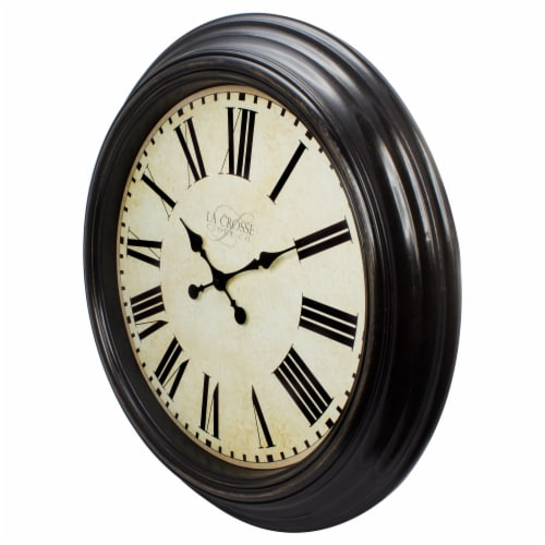 La Crosse Round Antique Dial Analog Wall Clock - Brown Perspective: front