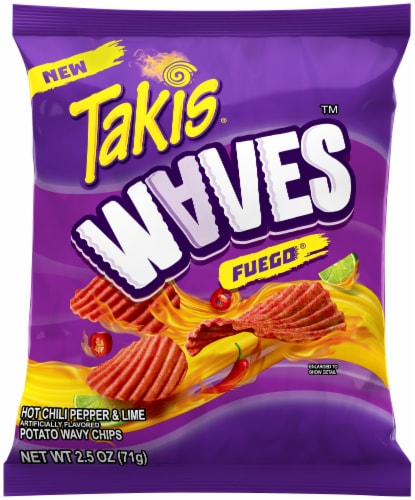Takis Fuego Hot Chili Pepper & Lime Wavy Potato Chips Perspective: front