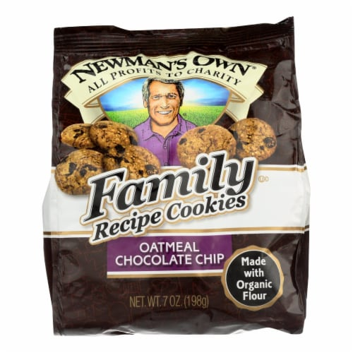 Newman's Own Organics Oatmeal Cookies - Chocolate Chip - Case of 6 - 7 oz. Perspective: front