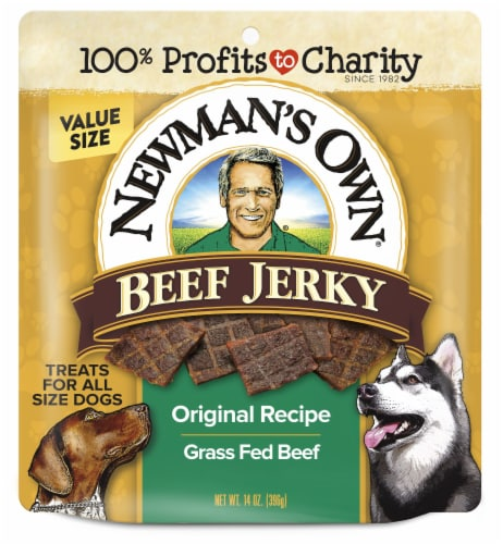 Newman's Own Original Recipe Beef Jerky Dog Treats Perspective: front