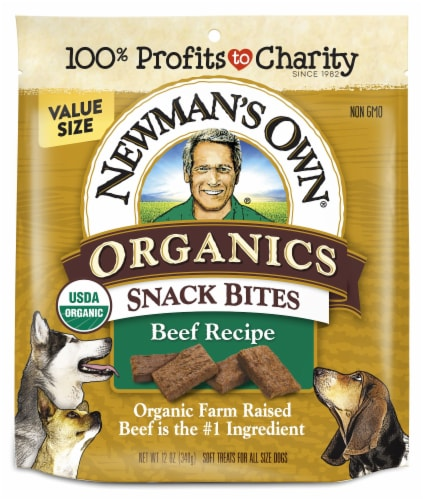 Newman's Own Organics Beef Snack Bites Dog Treats Perspective: front