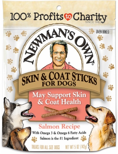 Newman's Own Skin & Coat Salmon Recipe Sticks for Dogs Perspective: front
