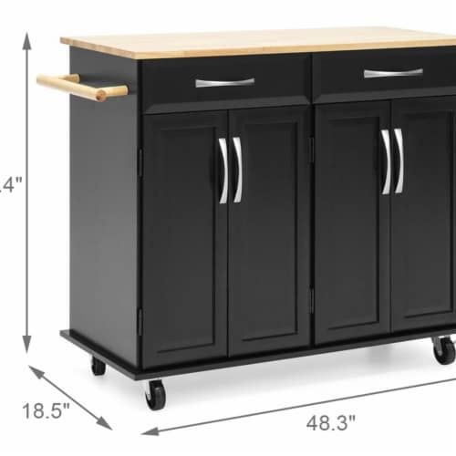 Utopia Alley FT75BK Kitchen Cart with Storage Cabinets, Black Perspective: front