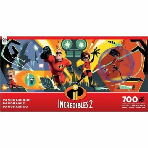 Disney Panoramic The Incredibles 700-Piece Puzzle Perspective: front