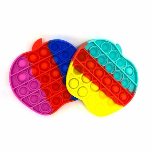 Silicone Bubble Push Pop it Fidget Toy Rainbow Apple (2 chosen randomly) Perspective: front