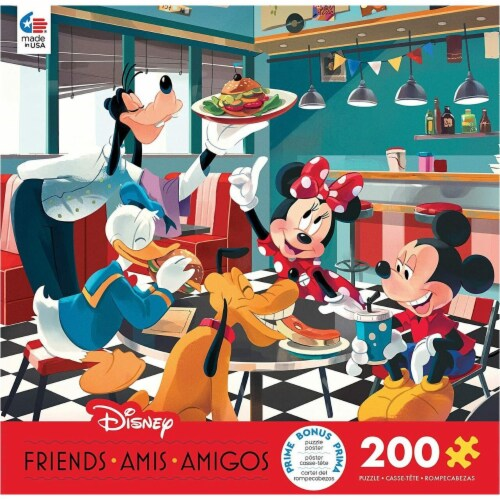 Ceaco 200 Piece Disney Friends - Disney Diner Jigsaw Puzzle, Kids and Adults Perspective: front