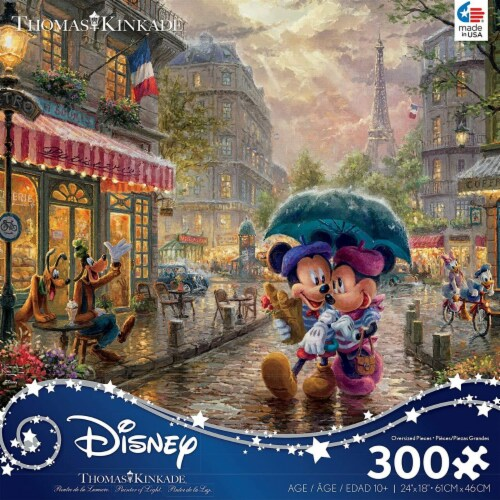 Thomas Kinkade Disney Dreams - Mickey and Minnie in Paris Jigsaw Puzzle, 300 Pieces Perspective: front