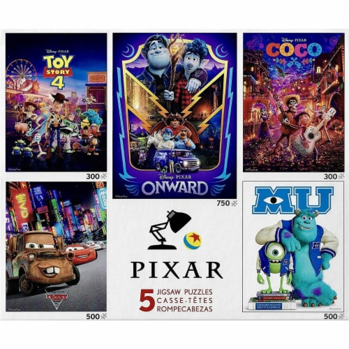 Ceaco Pixar Movies 5 Jigsaw Puzzles Multipack - Coco, Toy Story, Onward, Monster U, and Cars Perspective: front