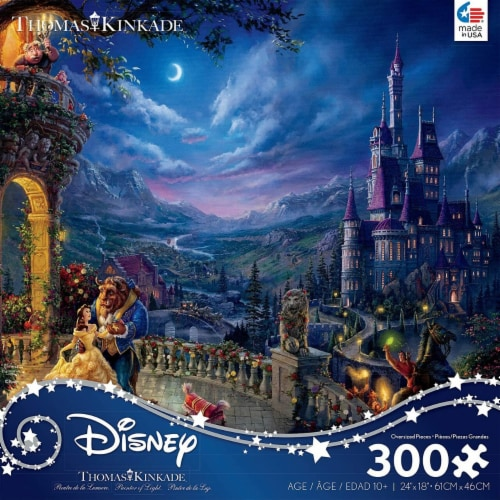 Ceaco Thomas Kinkade Disney Dreams - Beauty and The Beast in The Moonlight Puzzle, 300 Pieces Perspective: front
