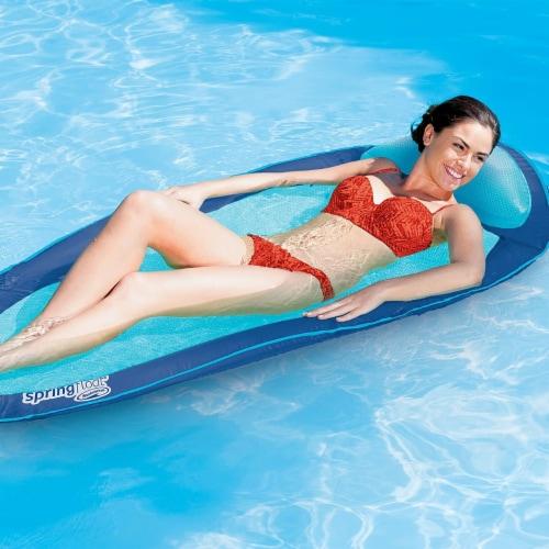 Swimways Original Spring Float Pool Lounger Dark Blue / Light Blue Perspective: front