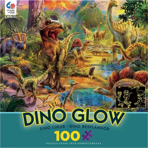 Ceaco Dino Glow in The Dark Dino Landscape Puzzle - 100Piece Perspective: front