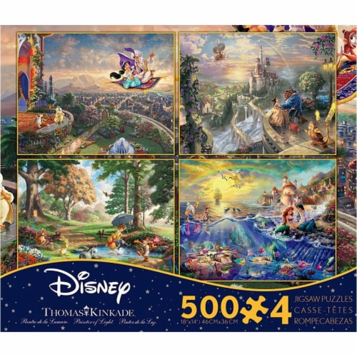 Thomas Kinkade Disney Jigsaw Puzzle - 4 Pack - 500 Pieces - No. 036672 Perspective: front
