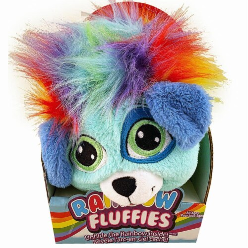 Rainbow Fluffies Animal Stuffed with Rainbows - Blue Puppy Perspective: front