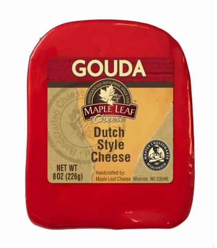 Maple Leaf Dutch Style Gouda Cheese Wedge Perspective: front