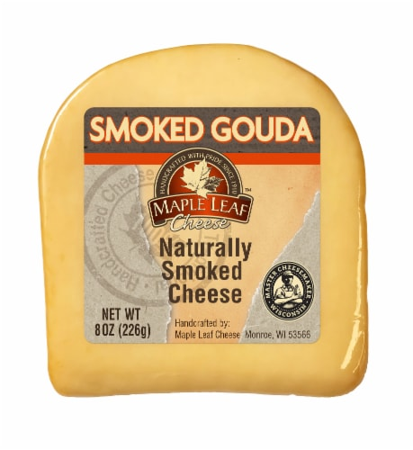 Maple Leaf Naturally Smoked Gouda Cheese Wedge Perspective: front