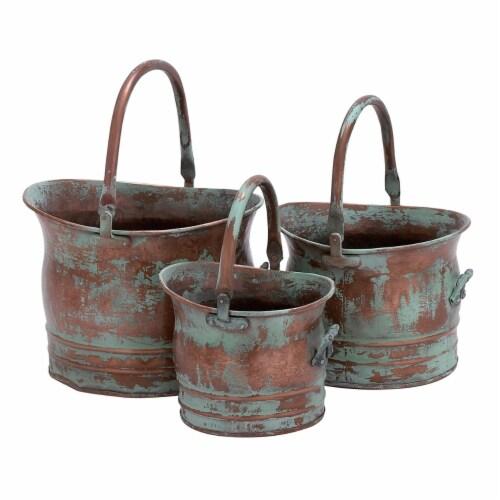 Green Tinged Metal Bucket Planter With Handles, Set of 3 ,Saltoro Sherpi Perspective: front