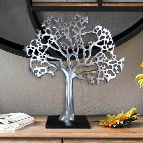 Stylish Aluminum Tree Decor with Block Base, Silver and Black ,Saltoro Sherpi Perspective: front