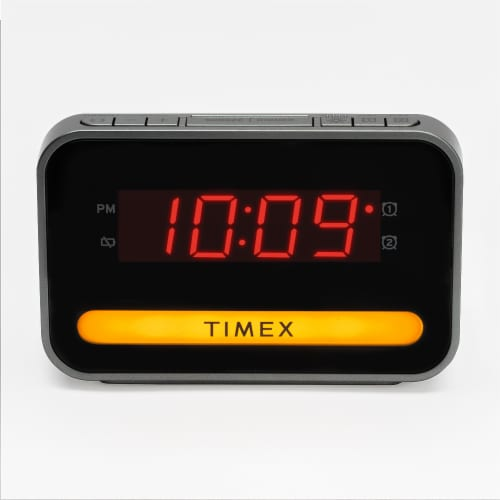 Timex Dual Alarm Clock with USB Port and Night Light Perspective: front