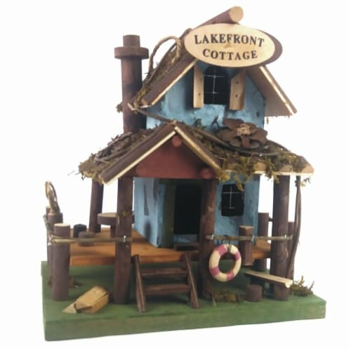 Land & Sea Lake Front Cottage Fairy Garden & Bird House Perspective: front