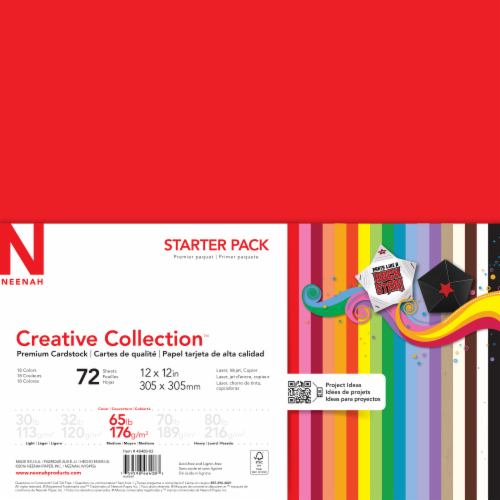 Neenah Creative Collection™ Premium Assorted Cardstock Starter Pack - 72 Sheets Perspective: front