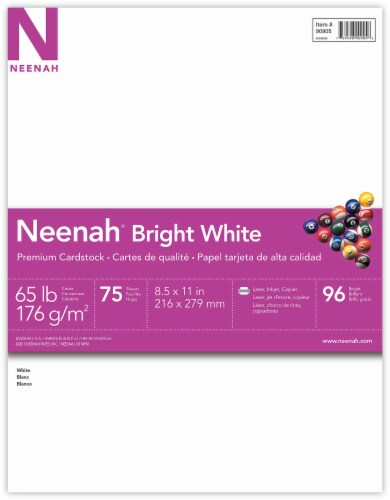 Neenah Premium Cardstock - 75 Pack - Bright White Perspective: front