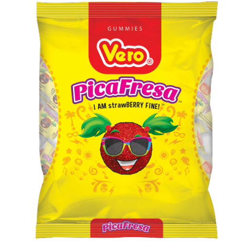 Vero Pica Fresa Strawberry Gummies Perspective: front