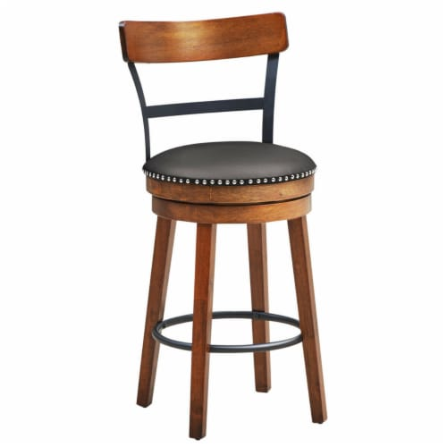 Gymax 25.5'' BarStool Swivel Counter Height kitchen Dining Bar Chair w/Rubber Wood Legs Perspective: front