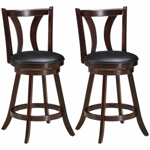Gymax Set of 2 Swivel Bar stool 24'' Counter Height Leather Padded Dining Kitchen Chair Perspective: front