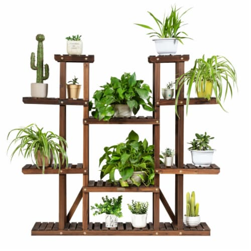 Gymax 9 Tier Wood Plant Stand 45'' High Carbonized 17 Potted Flower Shelf Rack Holder Perspective: front