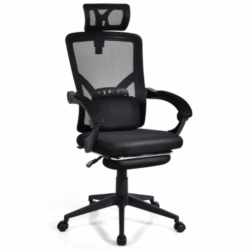 Gymax High Back Office Recliner Chair Adjustable Headrest w/ Footrest & Lumbar Pillow Perspective: front