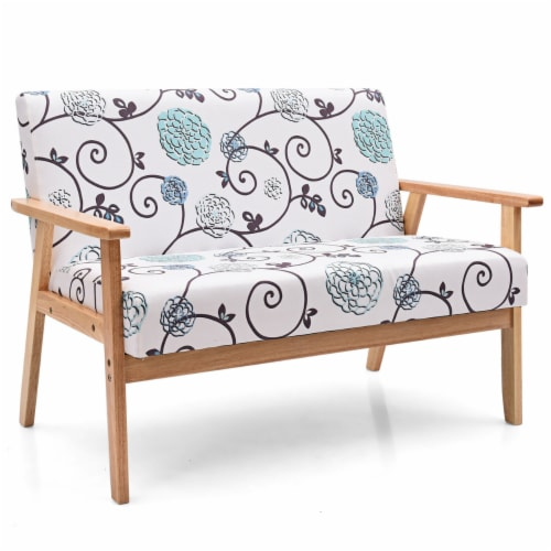 Gymax Modern Fabric Loveseat Sofa Couch Upholstered 2-Seat Wood Armchair Perspective: front