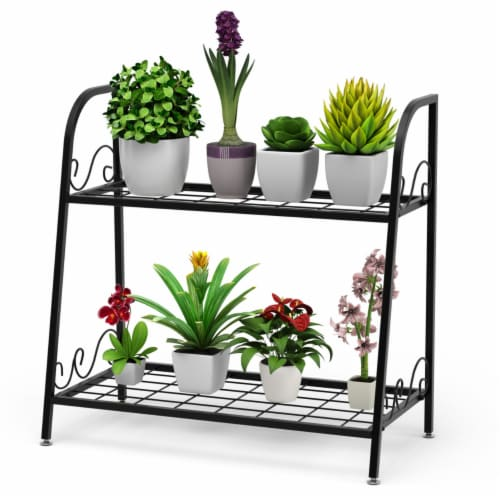 Gymax 2-tier Metal Plant Stand Shelf Flower Pot Holder Display Rack Shoe Organizer Perspective: front
