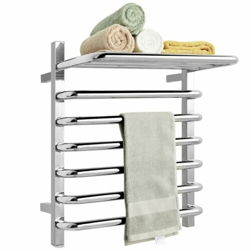 Gymax 10-Bar Wall Mounted Towel Warmer Stainless Steel Plug-in Towel Rack w/ Top Shelf Perspective: front