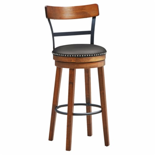 Gymax 30.5'' BarStool Swivel Pub Height kitchen Dining Bar Chair with Rubber Wood Legs Perspective: front